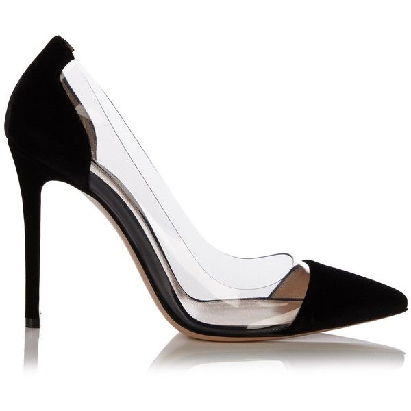 Gianvito Rossi Plexi velvet-panel pumps (10.400.980 IDR) ❤ liked on Polyvore featuring shoes, pumps, heels, black, black pumps, black heel pumps, black stilettos, heels stilettos and clear heel pumps