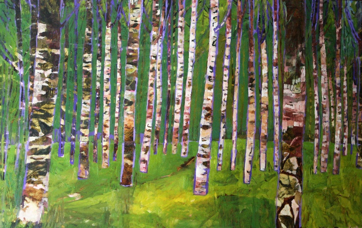 """Cynthia Van Frank - """"Birch Totems"""" 24"""" x 36"""" For lease or purchase www.artli.ca Lease for $125 per month"""