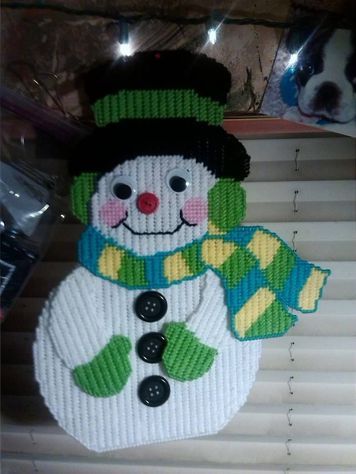 17 best images about plastic canvas winter on pinterest for Plastic snowman