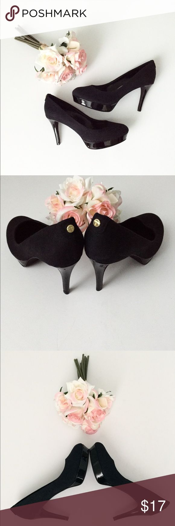 Black pumps platform size 6.5 Black platform pumps! Gorgeous! Black Patton leather heals and platform with black cloth body. Surprisingly soft and comfy and in great condition! Tahari Shoes Heels