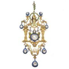 Large Gold Enamel and Diamond Gothic Revival Neckalce