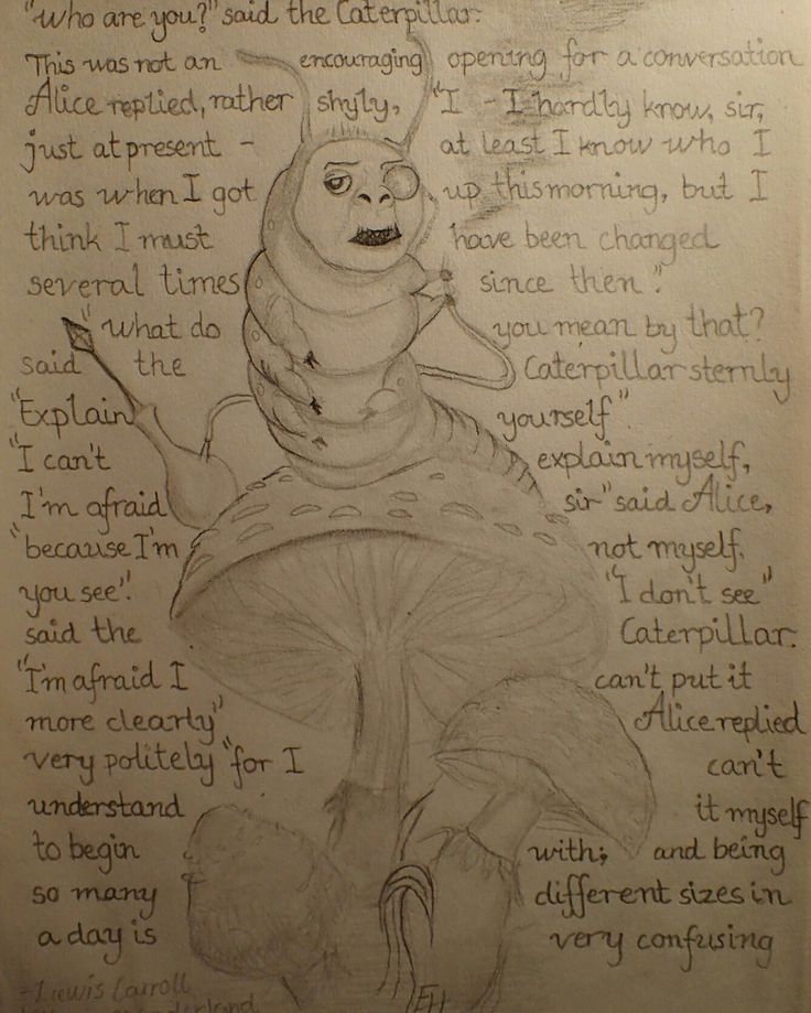 The Catapillar from Alice in Wonderland drawing
