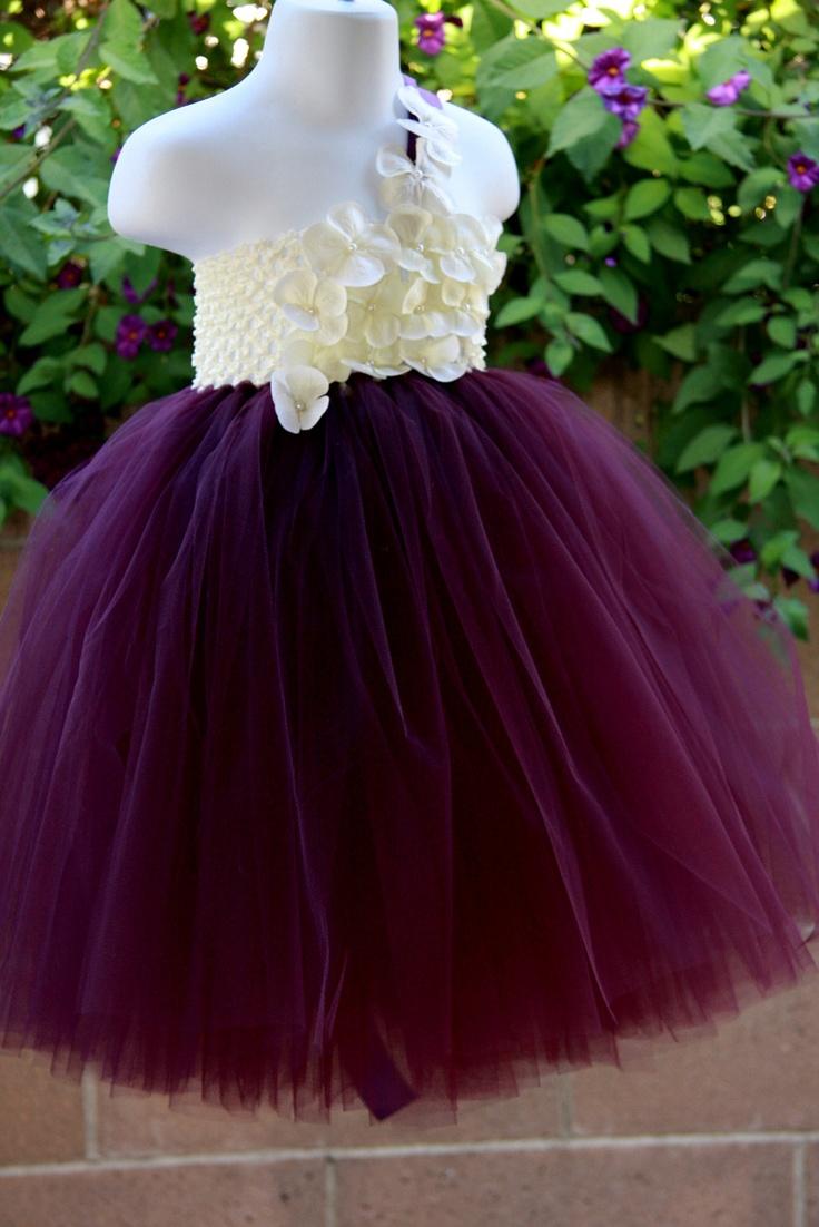 Eggplant TuTu Dress with limited ivory Hydrangeas.Flower Girl Dress. $90.00, via Etsy.