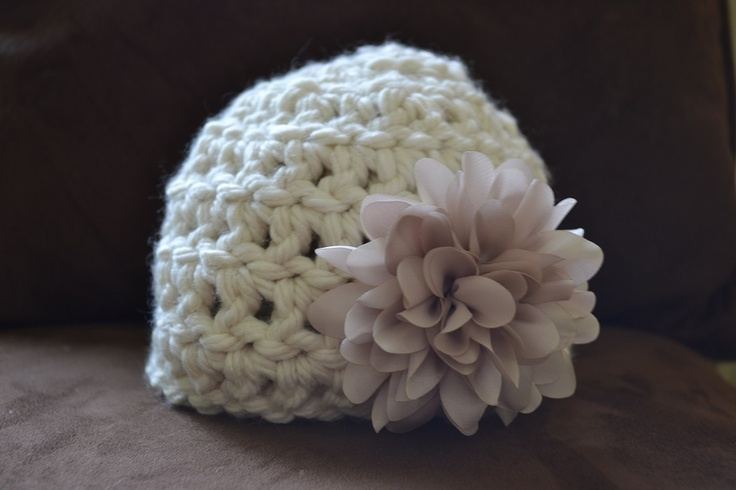 Chunky newborn hat with flower.  Gorgeous!