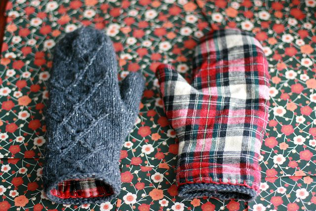 knit mittens with flannel lining - if someone who knows how to sew would like to help me make these, I would love you forever