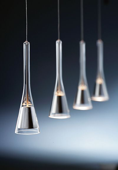 """""""Note"""" Pendant - Holtkotter: Streamlined with reflector encased in glass."""