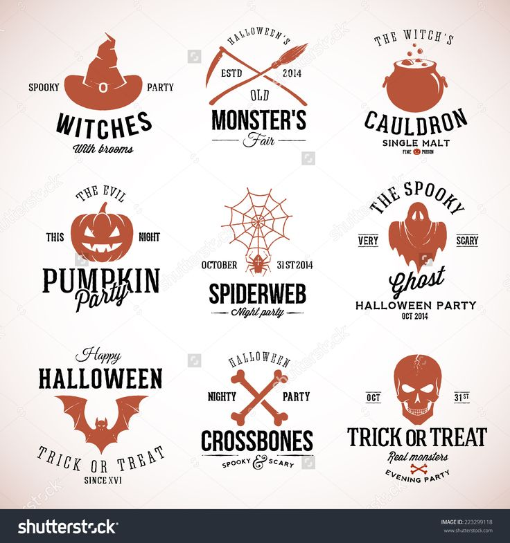 Vintage Typography Halloween Vector Badges Logos Or Labels Pumpkin Ghost Scull…