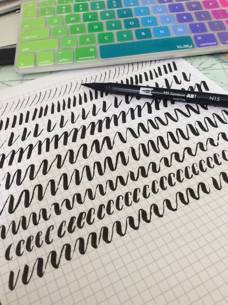 brush pen stroke practice with tombow dual brush pen and graph paper