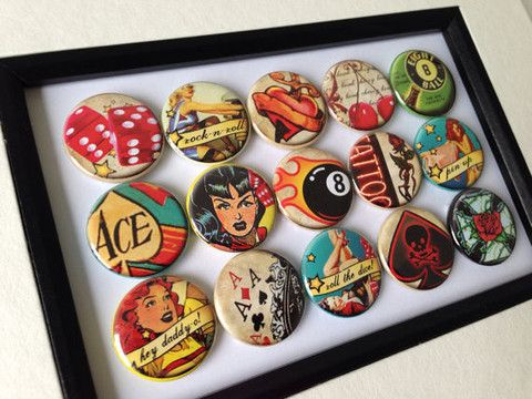 Pin-up poker and rock n roll, framed badges