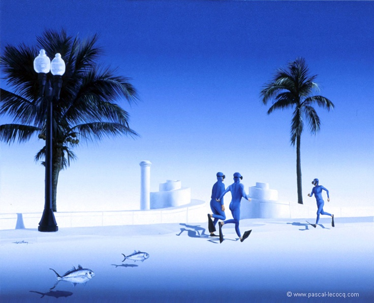 """Pascal Lecocq Gallery 60: OLYMPIC GAMES 2012, Aug4th:  Athletics Men's 10 ,000m  pic: """"COURIR AVEC LES BLUE RUNNERS"""" - oil on canvas by Pascal Lecocq, The Painter of Blue ®,16""""x20""""40,7x50,8cm  , 2001, lec589, private coll. Newport Beach,CA ©www.pascal-lecocq.com."""