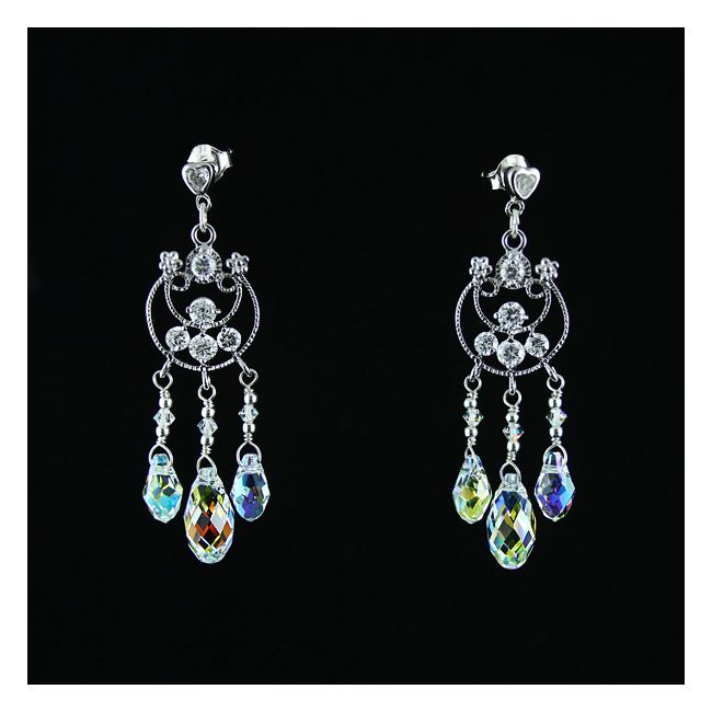 A most stunning set of jewellery - made of silver, transparent cubic zirconia and Swarovski crystals in the Crystal AB (Aurora Borealis) colour. Shiny, sparkling, exclusive, unique.