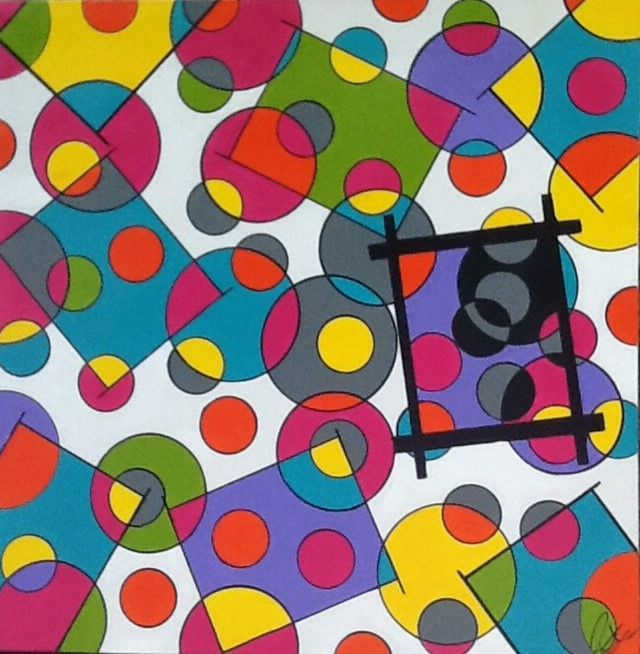 """This painting is donated by RJ's Abstract Art Expressions and will be available to bid on at the #2014 #BrightRun #HamOnt #BreastCancer #Research.  The circles are cells. The boxes represent types of cells.The cells in the black box are """"bad"""" cells ie. cancer cells.  The entire canvas is a cancer survivors LIFE."""