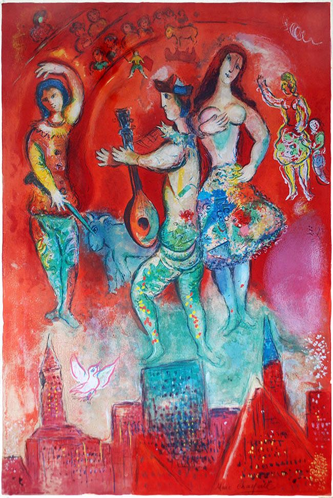 Chagall lithograph signed carmen marc chagall for Chagall tableau