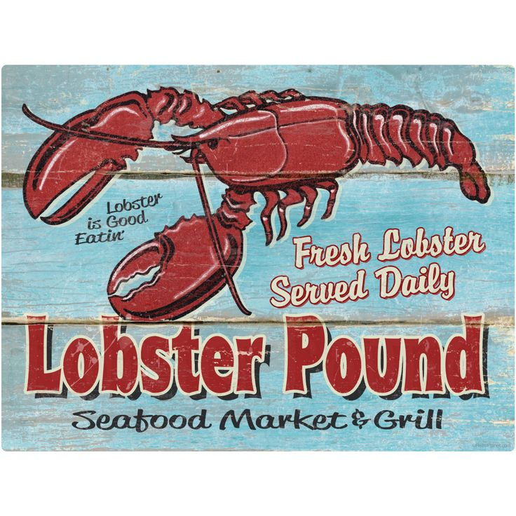 Lobster Pound Seafood Market Wall Decal | Restaurant Decor | RetroPlanet.com