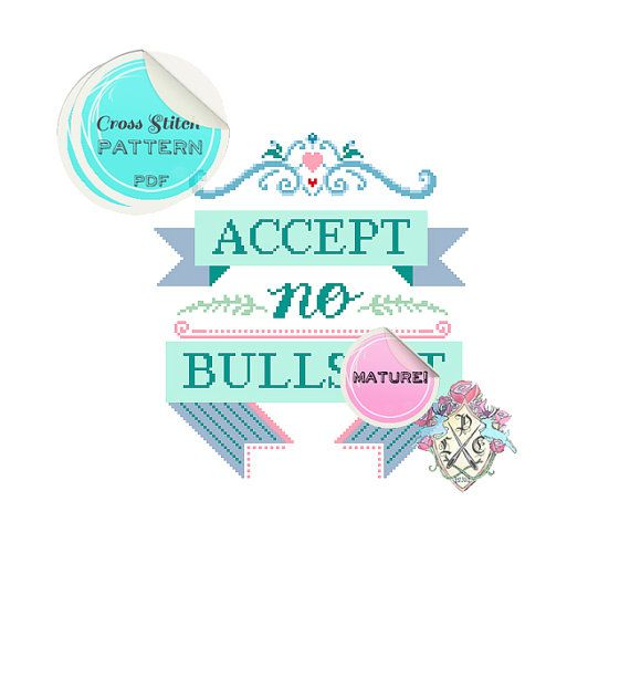 MATURE Accept No Bullst Modern Typography by plasticlittlecovers
