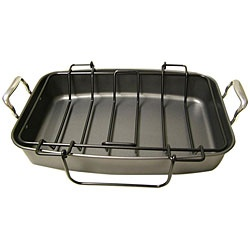 @Overstock - This Le Chef heavy-gauge roaster provides excellent heat conduction and uniform cooking that is ideal for roasting meats, poultry and vegetables without sticking. This durable nonstick roasting pan and rack is dishwasher safe. http://www.overstock.com/Home-Garden/Le-Chef-Professional-Nonstick-17.5-inch-Roasting-Pan-with-Rack/5314859/product.html?CID=214117 $39.99