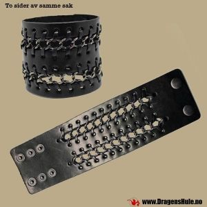 Naglearmbånd: Bred m/ fastbundne lenker -18-22cm fra DragensHule. Om denne nettbutikken: http://nettbutikknytt.no/dragens-hule-no/