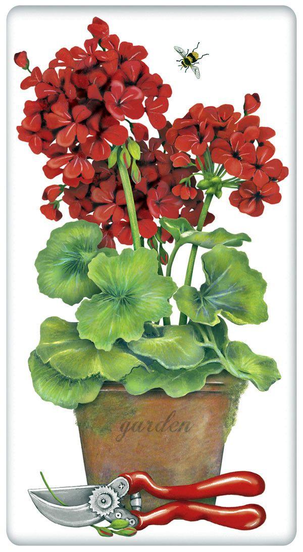 Pot of Red Geraniums 100% Cotton Flour Sack Dish Towel Tea Towel