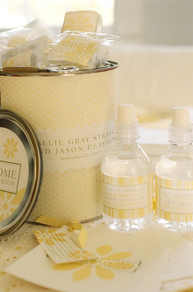 Welcome gift for yellow and white wedding by Tara Guerard Soiree