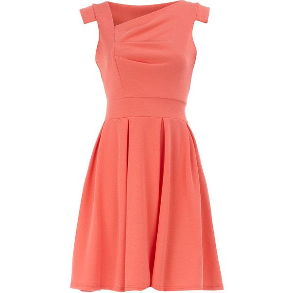Coral pleat bust skater dress found on Polyvore