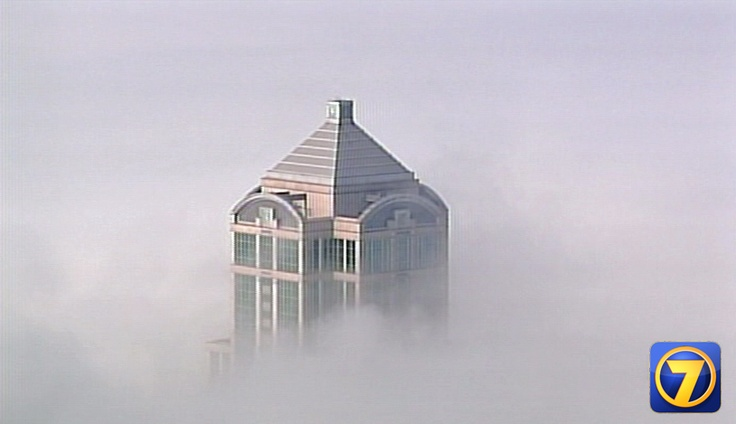 #Seattle's 1201 Third Avenue Building, formerly the Washington Mutual Tower, peeks out of the #fog at 772 feet.