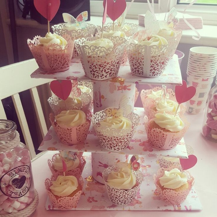 baby shower cupcakes  pink and white d.i.y cupcake stand