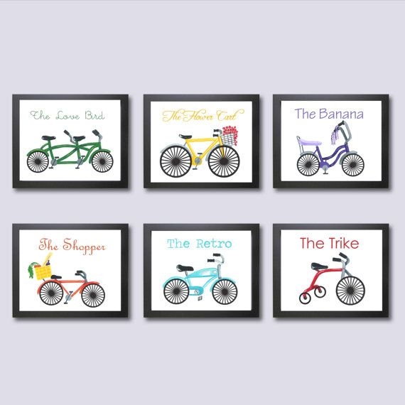Bicycle Childrens Decor, Kids Wall Art, Bicycle Nursery Art Prints, 11x14, Bike Decor, Art for Kids, Bicycle for Two, Whimsical Nursery Ar