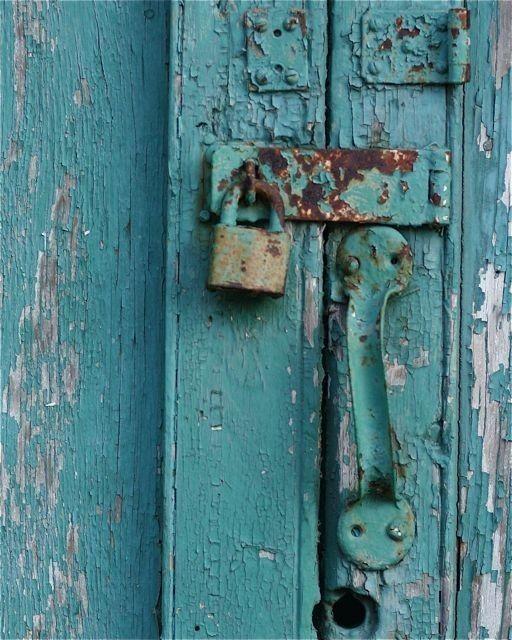 Turquoise Blue Gold Rust Door Photograph Cemetery Door