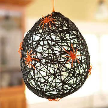 I think I could do this!!! I think they would be great in a cluster in the corner of the porch. Scary...like REAL spiders! I wonder if I could spray it with glow in the dark paint?
