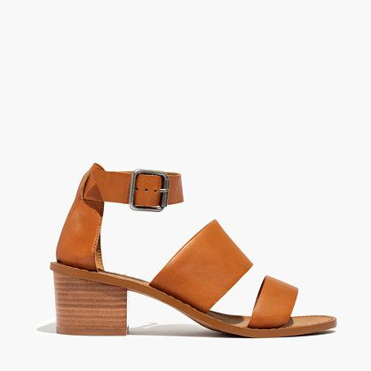 "Sleek and minimalist, this strappy leather sandal has a chunky block heel to make it extra-comfortable. Please note: When you select your size, ""H"" equals a half size.  <ul><li>Leather upper and lining.</li><li>2 1/4"" stacked heel.</li><li>Man-made sole.</li><li>Import.</li></ul>"