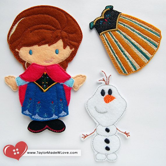Princess Annie Cold Winter Snow Felt Paper Doll Toy ITH Digital Design Files - Snow Queen, Frost, Blue, Purple, Pink, Black, Green, Dress Up