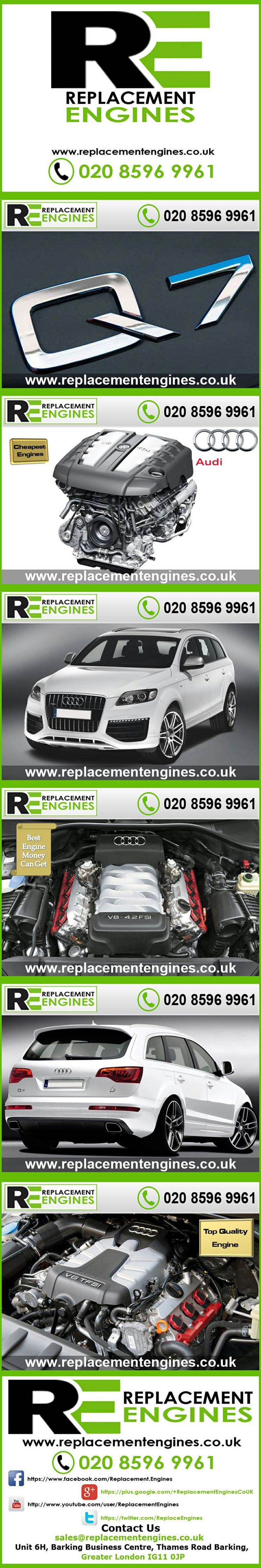 Audi Q7 engines for sale at the cheapest prices, we have low mileage used & reconditioned engines in stock now, ready to be delivered to anywhere in the UK or overseas, visit Replacement Engines website here.