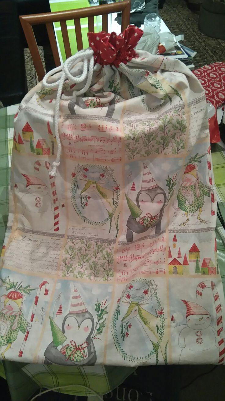 Christmas sack with two layers of fabric #christmas #sack #diy