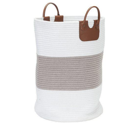 Buy HOME 50 Litre Cotton Laundry Basket - White and Grey at Argos.co.uk, visit Argos.co.uk to shop online for Linen baskets and laundry bins, Laundry and cleaning, Home and garden