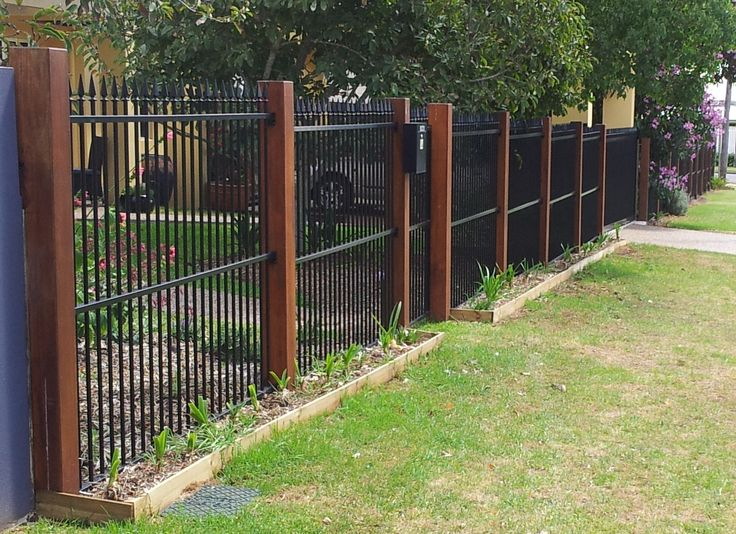 metal pool fence with timber posts - Google Search