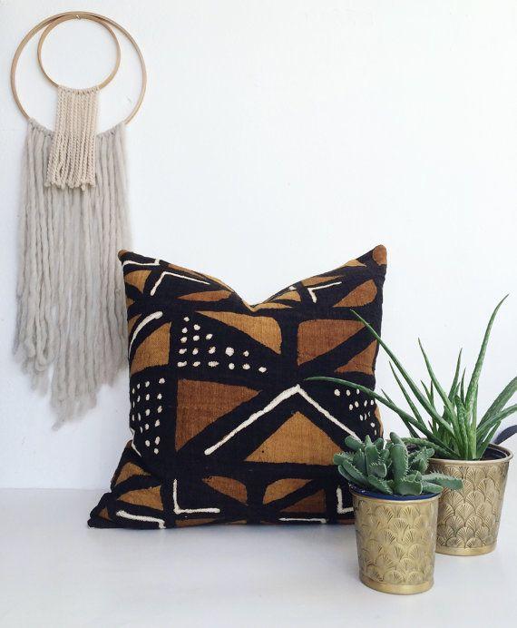 Bogolan pillow African Mudcloth Pillow African by DeliriumDecor