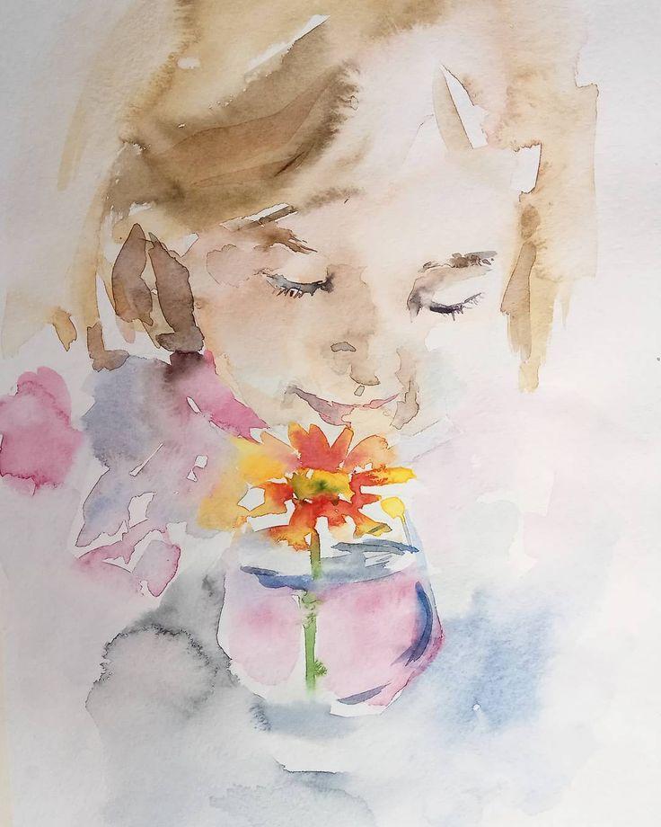 Доброго субботнего☀ Тот редкий случай, когда мне хочется нарисовать человека А эта маленькая трогательная девочка так и манила мою акварель Этюд на рыбачке, друзья. Строго не судите Младшая дочка Наташи @tatka1313 #люди_svekla