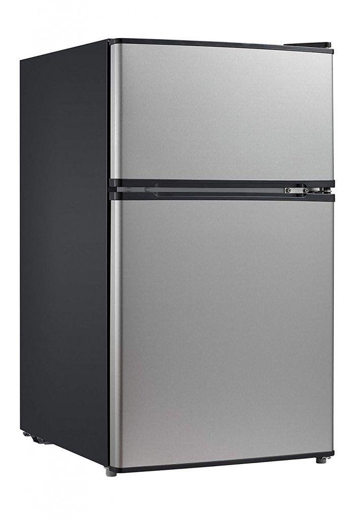 4 Midea Whd 113fss1 Double Door Mini Fridge With Freezer Mini Fridge With Freezer Compact Refrigerator Refrigerator Freezer
