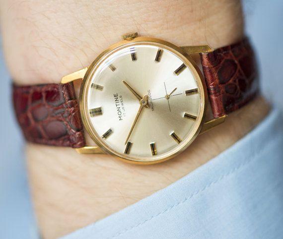 Classic men's watch Montine gold plated Swiss watch by SovietEra