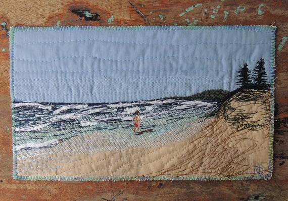 """Quilt Art """"Walking to Coolum"""" by @Bekahdu. #textile #fibre #art"""