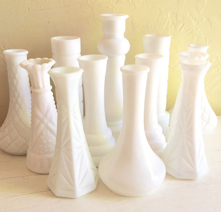 A personal favorite from my Etsy shop https://www.etsy.com/listing/531897575/12-vintage-white-milk-glass-bud-vases