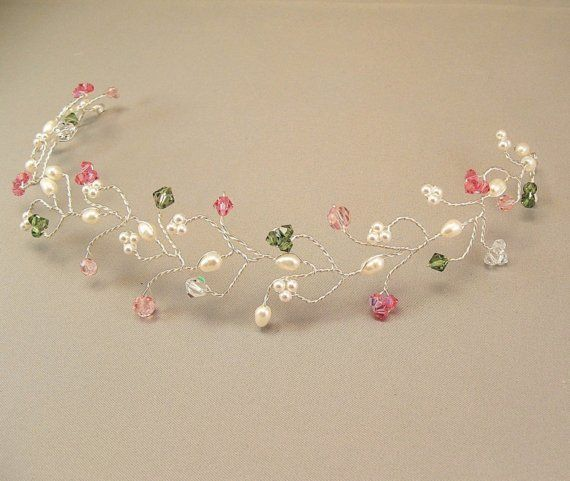Bridal Hair Vine Tiara, Pink and Green Wedding Head Piece, Alpha Kappa Alpha Wedding via Etsy