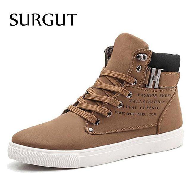Price Drop $20.89, Buy SURGUT Men Shoes 2018 Top Fashion New Winter Front Lace-Up Casual Ankle Boots Autumn Shoes Men Wedge Fur Warm Leather Footwear