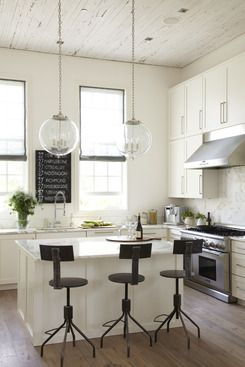 white #kitchen with black accents