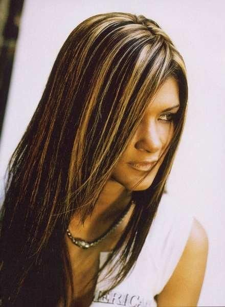 Golden Highlights With Dark Brown Hair