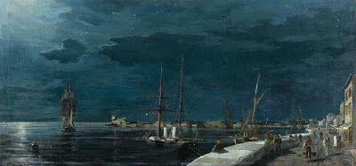 Το λιμάνι του Βόλου τη νύχτα.Ιδιωτική συλλογή.