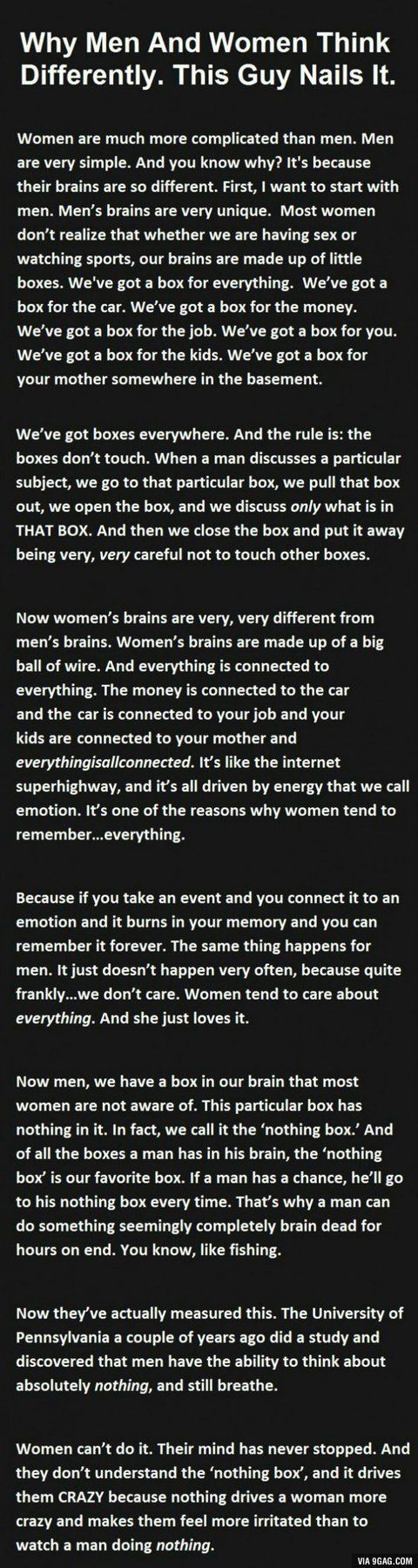 This made me laugh a little bit...then I realized (from my own female perspective) there is some truth here