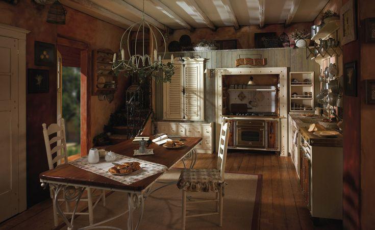 ... Cucina rustica in legno massello - Cucina naturale - Piano marmo