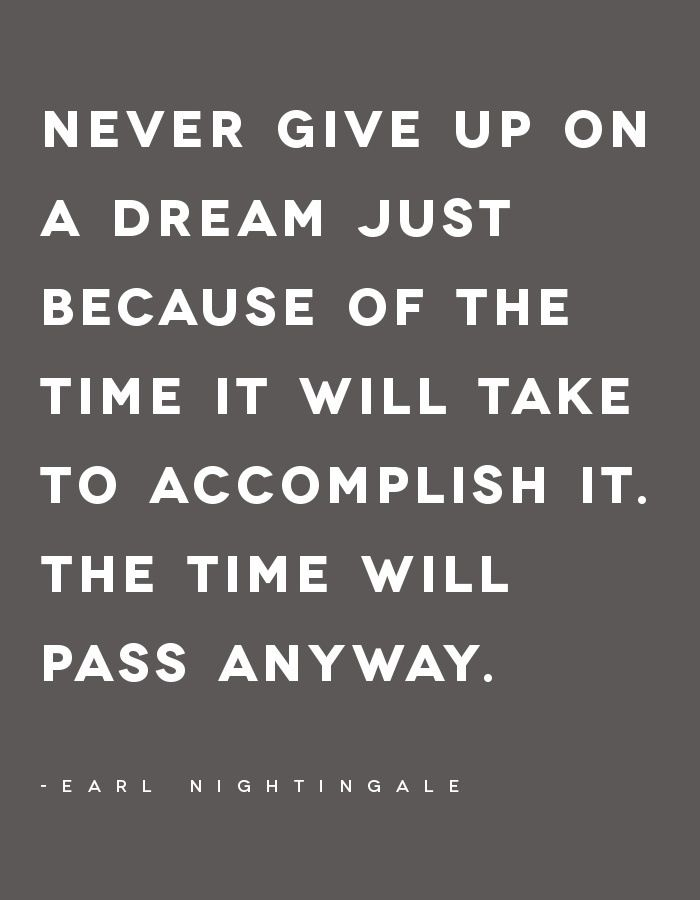 Truth. Never give up on a dream just because of the time it will take to accomplish it. The time will pass anyway.
