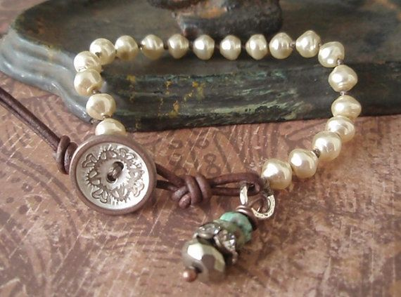 Pearl bracelet - Posh Country - cream pearl , sterling silver , pyrite , vintage rhinestone turquoise shabby country boho chic